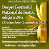"""""""Despre Festivalul Național de Teatru, ediția a 24-a"""", la Cafeneaua critică"""