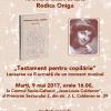 """Lansarea volumului de versuri """"Testament pentru copilărie"""", de Rodica Oniga"""
