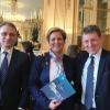 Președinții institutelor culturale român și francez, Liliana Țuroiu și Pierre Buhler, la Ministerul Culturii din Franța, cu ocazia lansării unei platforme digitale de învățare a limbilor romanice