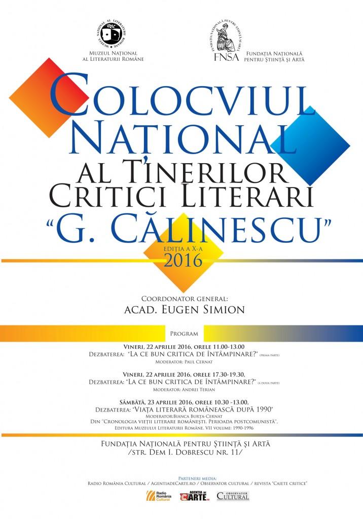 """Colocviul Naţional al Tinerilor Critici Literari """"G. Călinescu"""", ediția a X-a, 2016"""